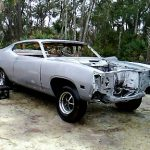 Paint removed from classic car for remodeling